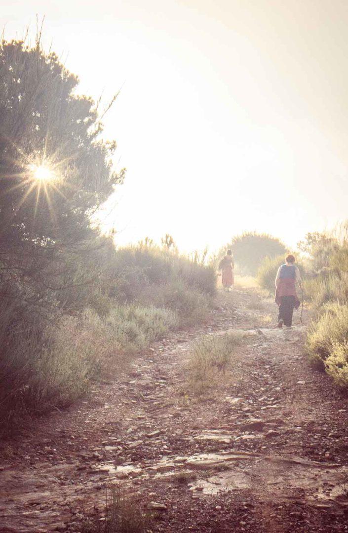 Mujeres subiendo por un camino luminoso
